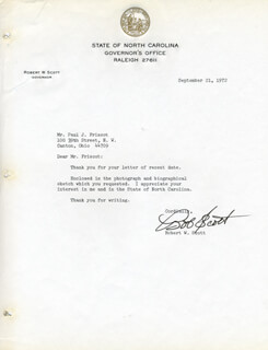 GOVERNOR ROBERT W. SCOTT (NC GOVERNOR) - TYPED LETTER SIGNED 09/21/1972