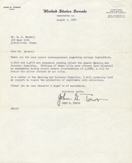 JOHN G. TOWER - TYPED LETTER SIGNED 08/05/1965