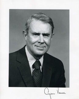 Autographs: CYRUS VANCE - PHOTOGRAPH SIGNED