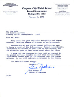 GUS YATRON - TYPED LETTER SIGNED 02/06/1974