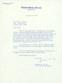 STEPHEN M. YOUNG - TYPED LETTER SIGNED 01/15/1973