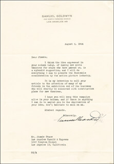 SAMUEL GOLDWYN - TYPED LETTER SIGNED 08/02/1944