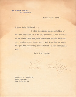 Autographs: PRESIDENT CALVIN COOLIDGE - TYPED LETTER SIGNED 02/19/1927