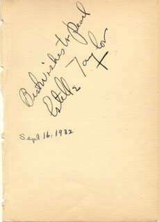ESTELLE TAYLOR - INSCRIBED SIGNATURE CIRCA 1932