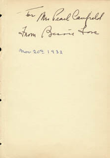 BESSIE LOVE - AUTOGRAPH NOTE SIGNED CIRCA 1932