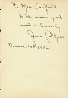 JUNE COLLYER - AUTOGRAPH NOTE SIGNED 11/18/1932