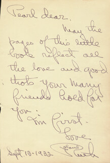 RUTH ROLAND - AUTOGRAPH NOTE SIGNED 09/13/1932 CO-SIGNED BY: PRISCILLA DEAN
