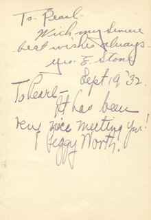 GEORGE E. STONE - AUTOGRAPH NOTE SIGNED CIRCA 1932 CO-SIGNED BY: PEGGY WORTH