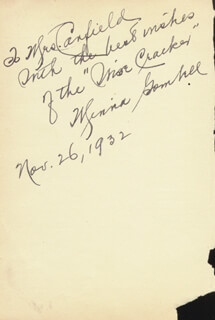 MINNA GOMBELL - AUTOGRAPH NOTE SIGNED 11/26/1932