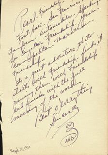 Autographs: BEN BARD - AUTOGRAPH NOTE SIGNED CIRCA 1932 CO-SIGNED BY: VICTOR McLAGLEN