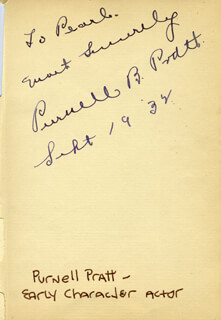 PURNELL PRATT - AUTOGRAPH NOTE SIGNED 09/19/1932