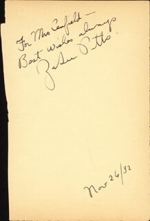 ZASU PITTS - AUTOGRAPH NOTE SIGNED 11/26/1932
