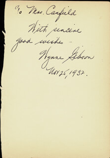 WYNNE (WINIFRED) GIBSON - AUTOGRAPH NOTE SIGNED 11/25/1932