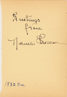 NORMA SHEARER - AUTOGRAPH SENTIMENT SIGNED CIRCA 1932