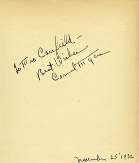 CARMEL MYERS - INSCRIBED SIGNATURE 11/25/1932