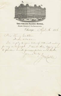 GEORGE WASHINGTON CABLE - AUTOGRAPH LETTER SIGNED 04/16/1886