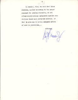 Autographs: ASSOCIATE JUSTICE WILLIAM J. BRENNAN JR. - TYPED SYLLABUS SIGNED CIRCA 1977