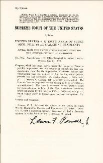 ASSOCIATE JUSTICE LEWIS F. POWELL JR. - PRINTED SYLLABUS SIGNED IN INK CIRCA 1973