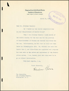 CHIEF JUSTICE HARLAN F. STONE - TYPED LETTER SIGNED 03/18/1933