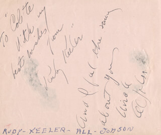 AL JOLSON - AUTOGRAPH NOTE SIGNED CO-SIGNED BY: RUBY KEELER