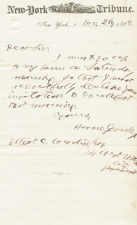 HORACE GREELEY - AUTOGRAPH LETTER SIGNED 11/26/1868