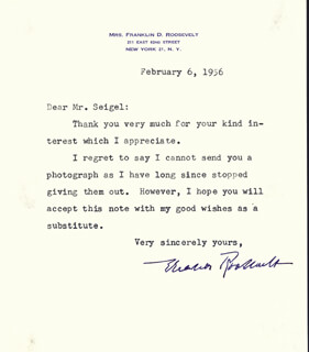 Autographs: FIRST LADY ELEANOR ROOSEVELT - TYPED LETTER SIGNED 02/06/1956