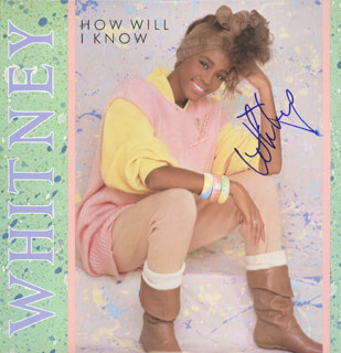 WHITNEY HOUSTON - RECORD ALBUM COVER SIGNED
