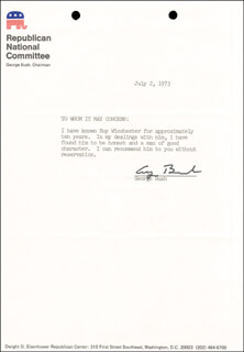 Autographs: PRESIDENT GEORGE H.W. BUSH - TYPED NOTE SIGNED 07/02/1973