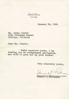 EDWARD G. ROBINSON - TYPED LETTER SIGNED 01/25/1941