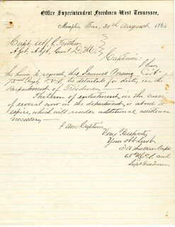 MAJOR GENERAL RALPH P. BUCKLAND - ENDORSEMENT SIGNED 09/02/1864