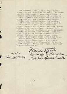 BRIGADIER GENERAL J. WARREN KEIFER - TYPED MANUSCRIPT SIGNED 12/21/1914