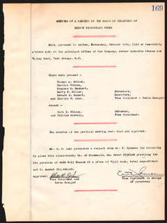 THOMAS A. EDISON - CORPORATE MINUTES SIGNED 10/20/1920 CO-SIGNED BY: GOVERNOR CHARLES EDISON, STEPHEN B. MAMBERT, HARRY F. MILLER, HOWARD H. ECKERT, CHARLES W. LUHR, WILLIAM DYKEMAN
