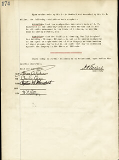 THOMAS A. EDISON - CORPORATE MINUTES SIGNED 10/27/1920 CO-SIGNED BY: GOVERNOR CHARLES EDISON, STEPHEN B. MAMBERT, HARRY F. MILLER, HOWARD H. ECKERT, CHARLES W. LUHR