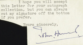 Autographs: JOHN (HENRY CECIL) HUNT - TYPED NOTE SIGNED