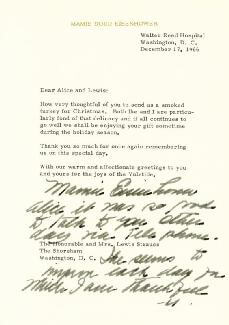 FIRST LADY MAMIE DOUD EISENHOWER - TYPED LETTER SIGNED 12/17/1966