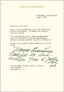 FIRST LADY MAMIE DOUD EISENHOWER - TYPED LETTER SIGNED 07/06/1967
