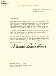 FIRST LADY MAMIE DOUD EISENHOWER - TYPED LETTER SIGNED 08/05/1969