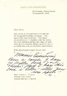 FIRST LADY MAMIE DOUD EISENHOWER - TYPED LETTER SIGNED 11/20/1964