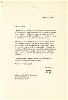 PRESIDENT DWIGHT D. EISENHOWER - TYPED LETTER SIGNED 05/29/1953