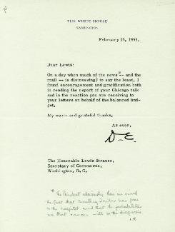PRESIDENT DWIGHT D. EISENHOWER - TYPED LETTER SIGNED 02/13/1959 CO-SIGNED BY: LEWIS L. STRAUSS