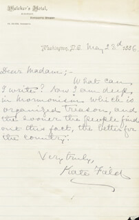 KATE FIELD - AUTOGRAPH LETTER SIGNED 05/23/1886