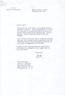 PRESIDENT DWIGHT D. EISENHOWER - TYPED LETTER SIGNED 02/14/1961