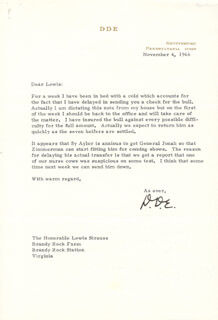PRESIDENT DWIGHT D. EISENHOWER - TYPED LETTER SIGNED 11/04/1966