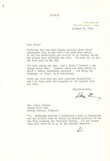 PRESIDENT DWIGHT D. EISENHOWER - TYPED LETTER TWICE SIGNED 10/22/1964