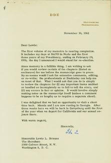 PRESIDENT DWIGHT D. EISENHOWER - TYPED LETTER SIGNED 11/30/1962
