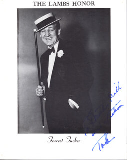 FORREST TUCKER - INSCRIBED PRINTED PHOTOGRAPH SIGNED IN INK