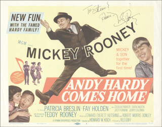 MICKEY ROONEY - INSCRIBED LOBBY CARD SIGNED