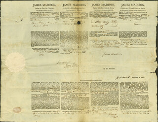 PRESIDENT JAMES MADISON - FOUR LANGUAGE SHIPS PAPERS SIGNED 02/05/1813 CO-SIGNED BY: DAVID GELSTON, EDMUND W. LAIGH, PRESIDENT JAMES MONROE