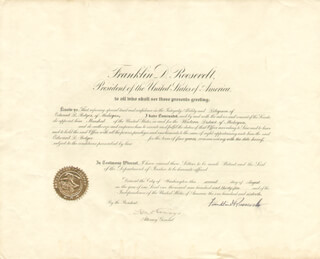 PRESIDENT FRANKLIN D. ROOSEVELT - CIVIL APPOINTMENT SIGNED 08/02/1935 CO-SIGNED BY: HOMER S. CUMMINGS