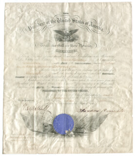 PRESIDENT THEODORE ROOSEVELT - NAVAL APPOINTMENT SIGNED 01/07/1907 CO-SIGNED BY: VICTOR H. METCALF
